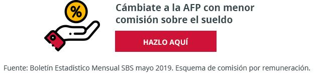 Cámbiate a la AFP con menor comisión sobre el sueldo